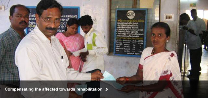 Compensating the affected towards rehabilitation
